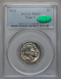 Buffalo Nickels, 1913 5C Type One MS67 PCGS. CAC....