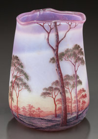 DAUM ETCHED AND ENAMELED GLASS SUMMER LANDSCAPE VASE Circa 1900, Enamel: DAUM, NANCY and cross of Lorr