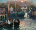 Fine Art - Painting, American:Modern  (1900 1949)  , HAYLEY R. LEVER (American, 1876-1958). Moonlight Over Smith'sCove, East Gloucester, circa 1920. Oil on canvas. 20 x 24 ...