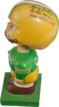 Football Collectibles:Others, 1960 Green Bay Packers Multi-Signed Wood Base Nodder - Signed byJordan, McGee, Etc....