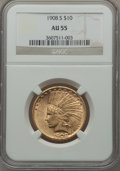 Indian Eagles, 1908-S $10 AU55 NGC....