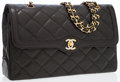 Luxury Accessories:Bags, Chanel Black Lambskin Leather Double Flap Bag with Gold and SilverHardware. ...