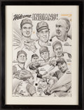 Baseball Collectibles:Others, 1965 Welcome Indians Original Artwork from Artist Lou Darvas....