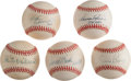 Baseball Collectibles:Balls, Baseball Greats Single Signed Baseballs Lot of 5....