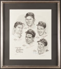 Baseball Collectibles:Others, 1954 Cleveland Indians Multi Signed Lithograph....