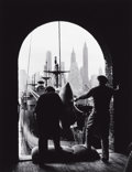 Photographs:20th Century, ANDREAS FEININGER (American, 1906-1999). Men Unloading Coffee,Brooklyn Dock (View of Downtown Manhattan in Background), N...