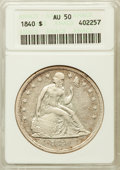 Seated Dollars: , 1840 $1 AU50 ANACS. NGC Census: (15/163). PCGS Population (44/109).Mintage: 61,005. Numismedia Wsl. Price for problem free...