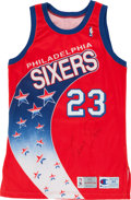 Basketball Collectibles:Uniforms, 1993-94 Tim Perry Signed, Game Worn Philadelphia 76ers Jersey....