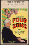 "Movie Posters:War, Four Sons (Fox, 1928). Window Card (14"" X 22""). War.. ..."