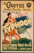 "Movie Posters:Adventure, Typhoon (Paramount, 1940). Autographed Window Card (14"" X 22"").Adventure.. ..."