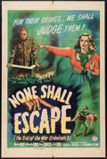 """Movie Posters:War, None Shall Escape (Columbia, 1944). One Sheet (27"""" X 41""""). War....."""