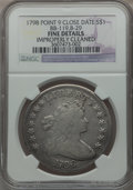 Early Dollars, 1798 $1 Large Eagle, Pointed 9, Close Date -- Improperly Cleaned --NGC Details. Fine. B-29, BB-119, R.4....