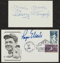 Baseball Collectibles:Others, Mickey Mantle and Casey Stengel Signed Index Card and Roger Maris Signed First Day Cover....