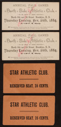 Baseball Collectibles:Tickets, 19th Century Baseball Tickets Lot of 4....