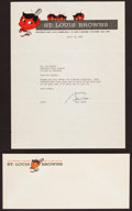 Baseball Collectibles:Others, 1952 Bill Veeck Signed St. Louis Browns Letter and Envelope....