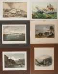 "Books:Prints & Leaves, Group of Six Antique Color Lithograph Prints Featuring CoastScenes. Various sizes from 10"" x 7.5"" to 9.5"" x 11"" matted. Por..."