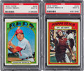 Baseball Cards:Singles (1970-Now), 1972 Topps Johnny Bench #433 and Bench In Action #434 PSA Mint 9Pair (2). ...