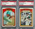 Baseball Cards:Singles (1970-Now), 1972 Topps Reggie Jackson #435 and Jackson In Action #436 PSA Mint 9 Pair (2). ...