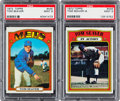 Baseball Cards:Singles (1970-Now), 1972 Topps Tom Seaver #445 and Seaver In Action #446 PSA Mint 9Pair (2). ...