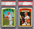 Baseball Cards:Singles (1970-Now), 1972 Topps Pete Rose #559 and Rose In Action #560 PSA Mint 9 Pair (2). ...
