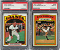 Baseball Cards:Singles (1970-Now), 1972 Topps Juan Marichal #567 and Marichal In Action #568 PSA Mint9 Graded Pair (2). ...