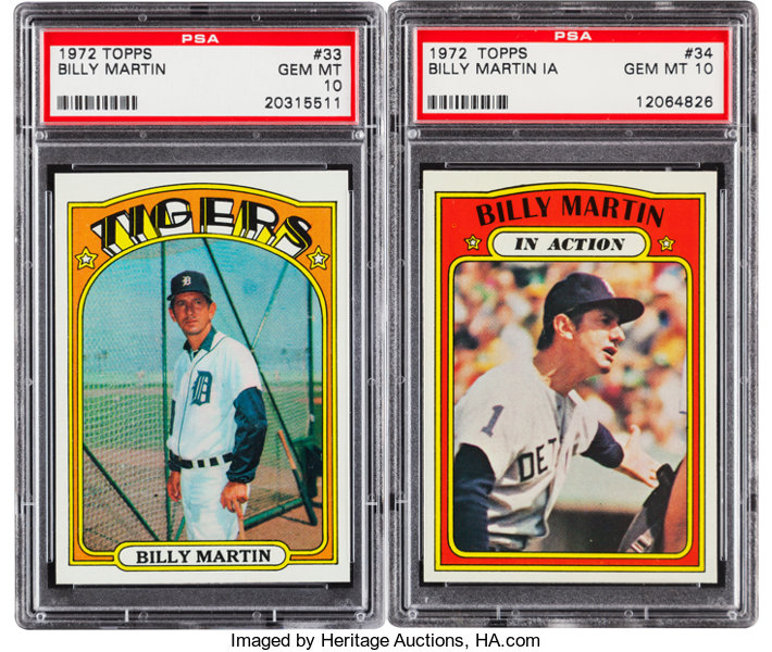 1972 Topps Billy Martin 33 And Martin In Action 34 Psa Gem