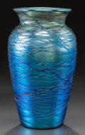 Art Glass:Other , DURAND GLASS BLUE THREADED VASE. Circa 1930, Engraved: DURAND, V,1812-7. 7-1/2 inches high (19.1 cm). ...