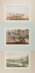 Art:Illustration Art - Mainstream, [Illustration]. Group of Three Matted Prints From the United StatesPacific Rail Road Survey. N.d. Light toning. Light, sca...
