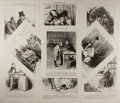 Art:Illustration Art - Mainstream, [Illustration]. Group of Nine Prints From La CaricatureProvisoire. Ca. 1830's. Measures 12.5 x 9.5 inches, loosely....