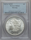Morgan Dollars: , 1878 7/8TF $1 Strong MS62 PCGS. PCGS Population (1182/4147). NGCCensus: (913/2659). Mintage: 544,000. Numismedia Wsl. Pric...