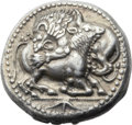 Ancients:Greek, Ancients: MACEDON. Acanthus. Ca. 520-470 BC. AR tetradrachm (26mm,17.28 gm). ...