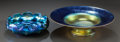 Art Glass:Tiffany , TWO TIFFANY STUDIOS FAVRILE GLASS BOWLS. Circa 1900, Engraved:L.C. Tiffany - Favrile, Style Q; L.C.T.. 2-1/4 inches hig...(Total: 2 Items)