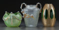 Art Glass:Other , THREE AUSTRIAN GLASS VASES. Circa 1900. 8-1/8 inches high (20.6 cm)(tallest). ... (Total: 3 Items)