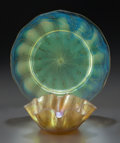 Art Glass:Tiffany , TIFFANY STUDIOS FAVRILE GLASS RUFFLED BOWL AND PLATE. Engraved:Sample approved by A.J. Nash; L.C. Tiffany - Favrile, Ci...(Total: 2 Items)