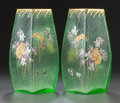Art Glass:Other , PAIR OF MONT JOYE ENAMELED AND GILT GLASS VASES. Circa 1900, Marks:MONT JOYE, LC. 9-3/4 inches high (24.8 cm). ... (Total: 2Items)