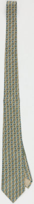 Hermes 9cm Green with Blue Print Silk Tie