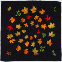 "Hermes Black, Green & Orange ""Walk in the Park,"" by Leigh P. Cook Cashmere Scarf"