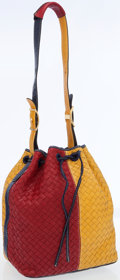 Luxury Accessories:Bags, Bottega Veneta Yellow, Red & Navy Intrecciato LeatherDrawstring Tote Bag. ...
