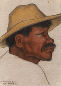 Fine Art - Work on Paper:Drawing, DIEGO RIVERA (Mexican, 1886-1957). Side Portrait of aFarmer, 1938. Charcoal and pastel on wove paper. 15 x 11 inches(3...