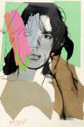 Post-War & Contemporary:Pop, ANDY WARHOL (American, 1928-1987). Mick Jagger, 1975. Colorscreenprint on Arches Aquarelle paper. 43-1/2 x 29 inches (1...