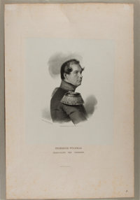 [Engraving]. Portrait of Friederich Wilhelm. N.d. Measures 12.5 x 19.25 inches, loosely. Tipped onto mat. Light, scat