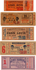 Boxing Collectibles:Memorabilia, 1935-46 Joe Louis Fight Tickets Lot of 5....