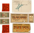 Boxing Collectibles:Autographs, 1919-20 Jack Dempsey Fight Tickets Lot of 6 with SignedPostcard....