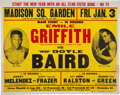 Boxing Collectibles:Memorabilia, 1970 Emile Griffith vs. Doyle Baird On-Site Phantom Fight Poster....