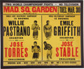 Boxing Collectibles:Memorabilia, 1965 Pastrano vs. Torres & Griffith vs. Stable On-Site Fight Poster....