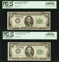 Fr. 2152-I/Fr. 2153-I $100 1934/1934A Federal Reserve Notes. Changeover Pair. PCGS Very Choice New 64PPQ-Choice New 63PP...