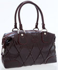 Luxury Accessories:Bags, Tod's Burgundy Quilted Patent Leather Bag with Silver Hardware. ...