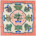 "Luxury Accessories:Accessories, Hermes Pink & Cream ""Bonsai,"" by Catherine Baschet Silk Scarf...."