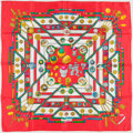 "Luxury Accessories:Accessories, Hermes Red, Gold & Green ""Petite Main,"" by Caty Latham SilkScarf. ..."