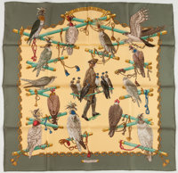 "Hermes Green & Yellow ""Les Oiseaux du Roy,"" by Caty Latham Silk Scarf"